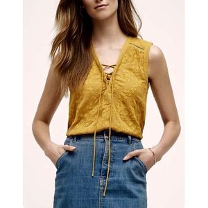 Anthropologie Maeve Embroidered Lace Up Blouse